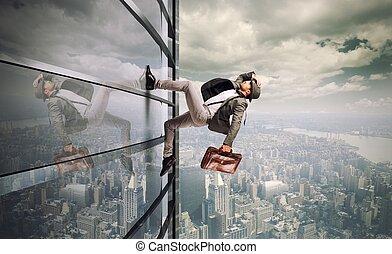 Determinated businessman - Determined man running up a...