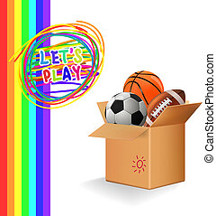 Box with sports balls Vector - Box with sports balls...