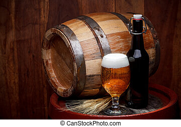 Keg of beer - Still life with a keg of beer and draft beer...
