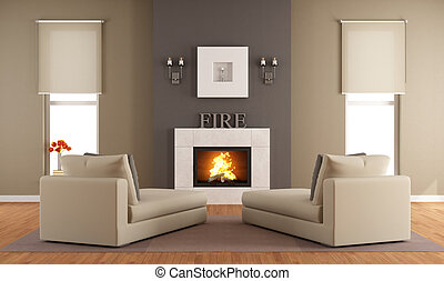 Contemporary living room with fireplace ant two long chair -...