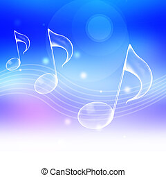 music note symbol with abstract blue background