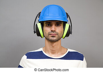 Young man with protective workwear