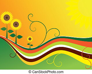Sunflower waves - Background with sunflowers and waves