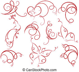 Elements for design - Design set with heart, bird, butterfly...