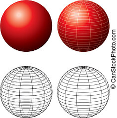 Red Sphere With Meridians - Three-dimensional red sphere...