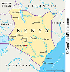 Kenya Political Map - Political map of Kenya with capital...