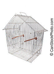 Empty bird cage isolated on white