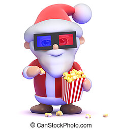 3d Santa eats popcorn at the 3d movie - 3d render of Santa...