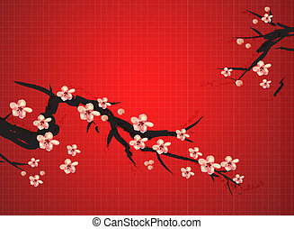 chinese painting of plum on the red background, meaning...
