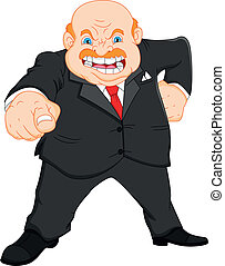 angry boss businessman - illustration of angry old boss