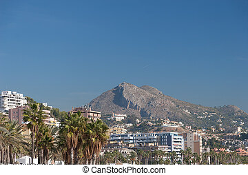 Street view of Malaga, Andalucia, Spain - Summer time