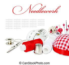 Needlework - Sewing kit on white background