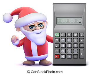 3d Santa Claus standing by a calculator