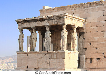 Porch of Caryatides in Erechtheum from Athenian Acropolis,...
