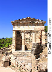 Athenian treasury, Delphi, Greece - Athenian treasury in...