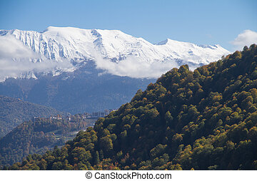 The mountains in Krasnaya Polyana, Russia - The mountains in...