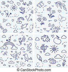 Collection of four seamless vector backgrounds