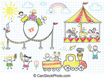 Happy children ride on the carousel