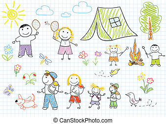 Happy family in camping. Sketch on notebook page