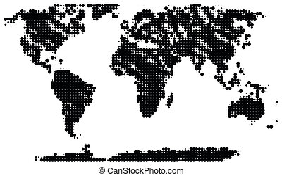 Half-tone map - Dotted map of the world