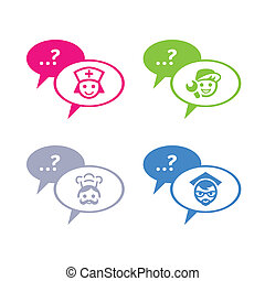 Chat with professionals - Icons for online chat with doctor,...