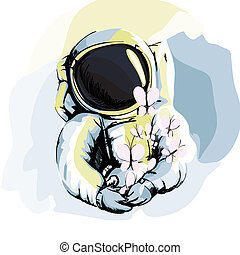 Astronaut - Illustration of Astronaut on White Background