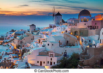 Oia village at night, Santorini - lights of Oia village at...