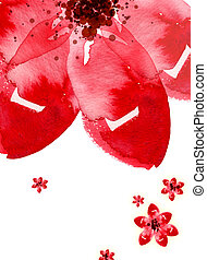 Watercolor Flower - Hand-painted watercolor flower, large...