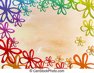 flower background - color flower on the watercolor...