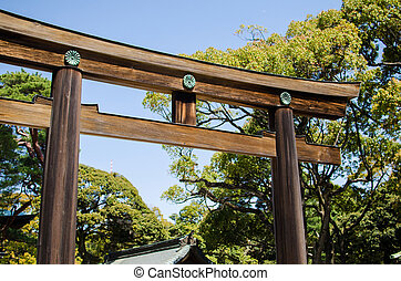 TOKYO, JAPAN - APRIL 15: Meiji-jingu in Tokyo, Japan on...