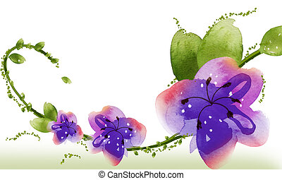 watercolor flower  on the white background,used as texture