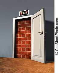 Exit door blocked by a brick wall. Digital illustration.