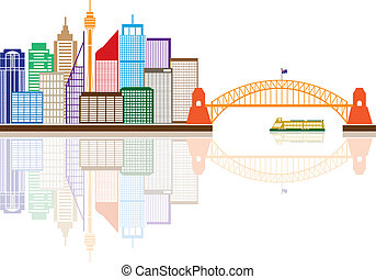Sydney Australia Skyline Color Illustration