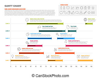 Gantt project production timeline graph - Vector project...