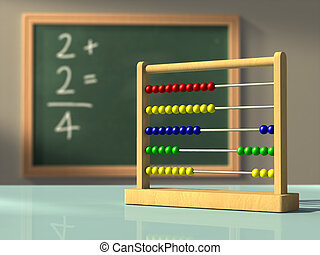 Simple mathematics - Abacus in front of a chalkboard, used...