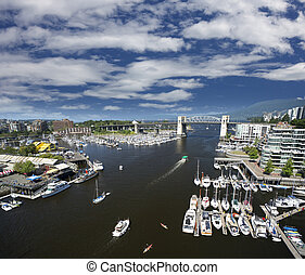 Vancouver, False Creek and Granville Island - Vancouver,...