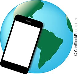 Mobil phone world vector illustrati - Smart phone with world...
