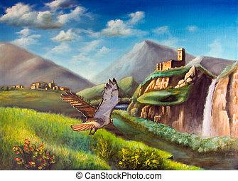 Fantasy landscape - Hawk flying through an imaginary...