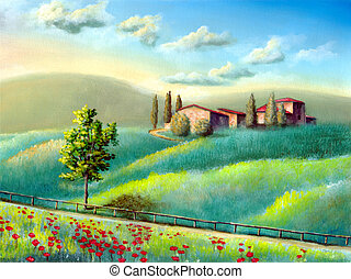Italian landscape - Farmland in Tuscany, Italy. My original...