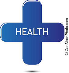 Tag health plus vector - Illustration symbol cross with text...