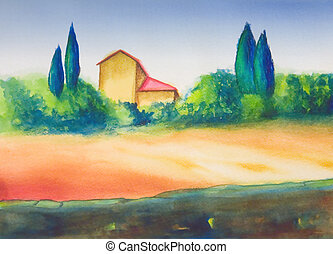 Country landscape - COuntry landscape in Tuscany, Italy. My...