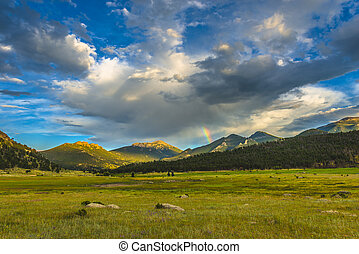 Beautiful Sunset in Moraine Park Colorado Rockies -...