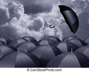 Stormy day - Stylized illustration of a runaway brolly on a...