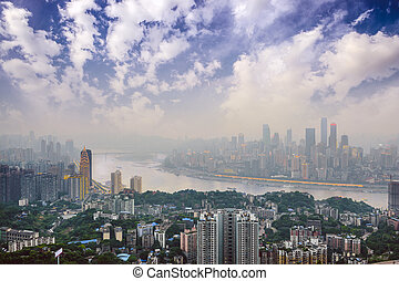 Chongqing, China Skyline - Chongqing, China over the Yangtze...