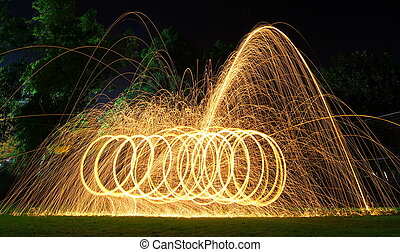 Steel wool light painting - brilliant fireworks from steel...