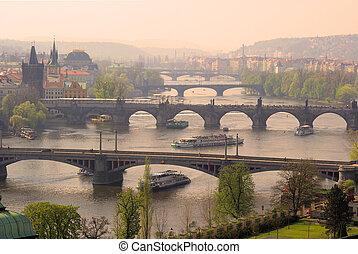Praga, pontes, aéreo, vista, 08