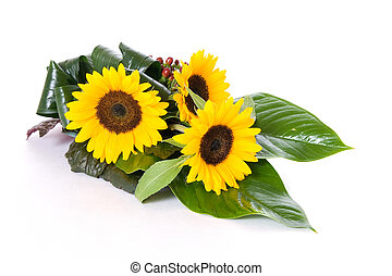 Sunflowers table decoration isolated on white background