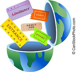 ticket globe - An open globe of the world with entry tickets...