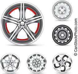 set of rims - The rims set collection on the white...