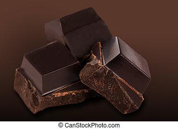 dark chocolate bars - Dark chocolate bars on a white...